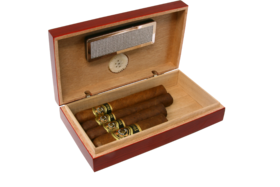 Cigar Humidor -Mini for 4 Cigars Redwood/Walnut Finish