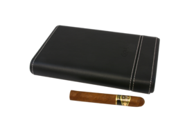 Travel Black Leather Look Humidor for 5 Large Cigars