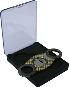 Cigar Cutter Round Ended Black/Gold Check
