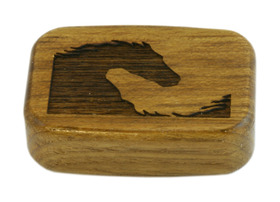 Wooden Snuff Box with Sliding Lid and Horse engraving