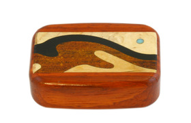 Wooden Snuff Box with Sliding Lid and Patterned Rosewood finish