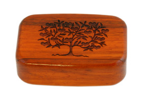 "Wooden Snuff Box Sliding Lid Love Tree Rosewood 3""x2""x7/8"""
