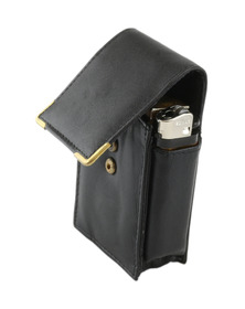 Cigarette Lighter Case Black Leather for KS & SK Cigarettes