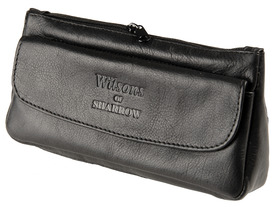 Sharrow Leather Pipe Tobacco Pouch with 2 Zips and Button ref:3514