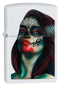 Zippo 29400 Day of the Dead Lady Tattoo, White Matte