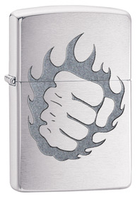 Zippo 29428 Tattoo Fire and Fist, Brushed Chrome