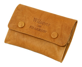 Sharrow Leather Tob. Pouch Ant. Tan with 2 Buttons & P/slot