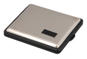 Cigarette Case Chrome/Blk Double Sided K/S with I.P.