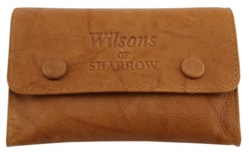 Sharrow Leather Tob. Pouch Ant. Tan with 2 Buttons & P/slot ref:3520