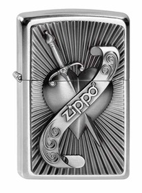 Zippo 2003969 Street Chrome, Heart With Sword