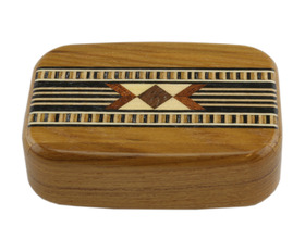 "Wooden Snuff Box Sliding Lid Asstd Patt.Lightwood 3""x2""x7/8"""