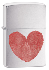 Zippo 29068 Heart Thumbprints, Brushed Chrome