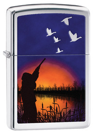 Zippo 29076 Duck Hunting, High Polished Chrome