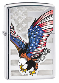 Zippo 28449 Eagle Flag Polished Chrome
