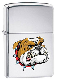 Zippo 250DOG Scary Bulldog, High Polished Chrome