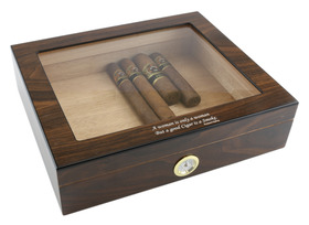 Rudyard Kipling Quoted Humidor Walnut Finish with Glass Top
