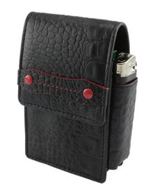 Cigarette Case Leather Croc button magnetic & Lighter Holder Black