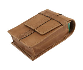 Cigarette Case Leather for all size cigs. with Loop Fastener Brown