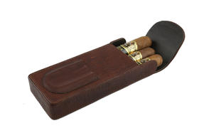 Cigar Case Bwn. Leather with Cutter Holder for 3 large cigar