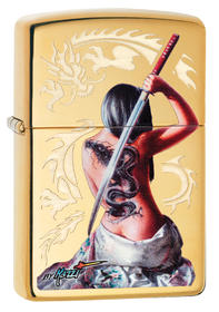 Zippo 29668 Mazzi Dragon Girl, High Polish Chrome