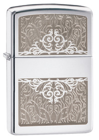 Zippo 28467 Filigree Initial Panel Polished Chrome