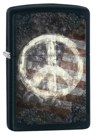 Zippo 28864 Peace on Flag, Black matte