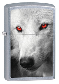 Zippo 28877 Wolf with Red Eyes, Street Chrome