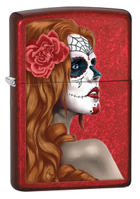 Zippo 28830 Day of the Dead Girl, Candy Apple Red