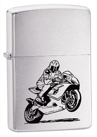 Zippo 200BIKE Motorcycle, Brushed Chrome