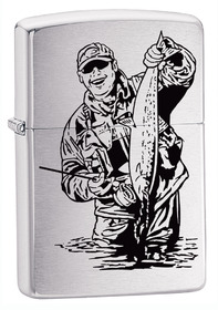 Zippo 200FISH3 Fisherman, Brushed Chrome