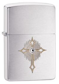 Zippo 28804 Cross with Crystal, Brushed Chrome