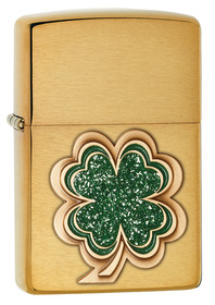 Zippo 28806 Clover, Brushed Brass