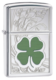Zippo 24699 Four-Leaf Clover Thumbprint, High Polished Chrome