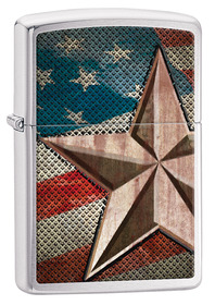 Zippo 28653 Brush Chrome, Retro Star