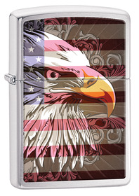 Zippo 28652 Eagle Flag, Brushed Chrome